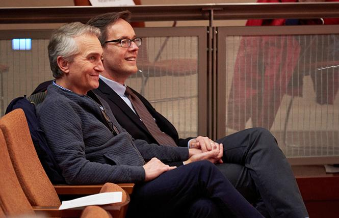 """""""If I Were You"""" composer Jake Heggie (R) and his husband Curt Branom attended a workshop performance of the opera. Photo: Stefan Cohen"""