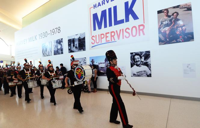 Members of the San Francisco Lesbian/Gay Freedom Band, the city's official band, took part in the free community day at San Francisco International Airport's Harvey Milk Terminal 1 July 20 to celebrate the first phase of its reopening. Photo Rick Gerharter