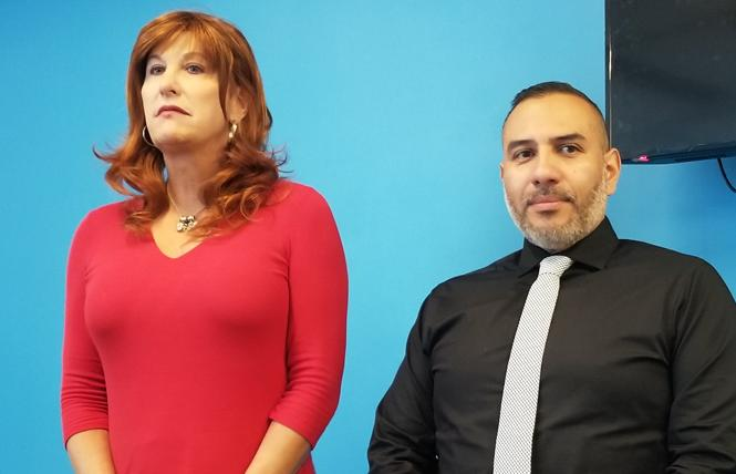 Suzanne Ford, left, SF Pride's treasurer, joined interim Executive Director Fred Lopez at a July 23 news conference. Photo: Meg Elison