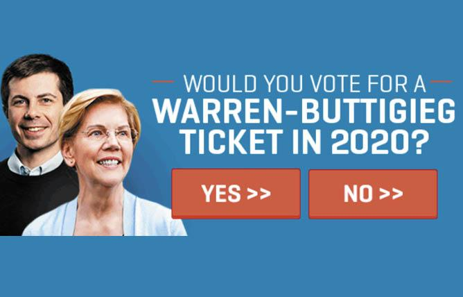 In one email signed by the Equality California data team, members were asked if they would vote for a Warren-Buttigieg ticket in 2020. Photo: Courtesy EQCA