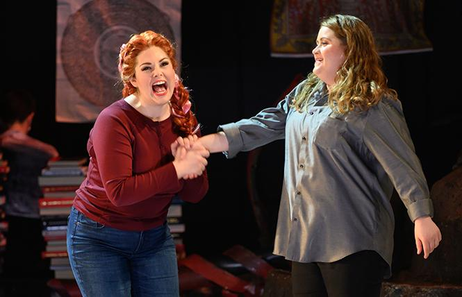 "Cara Collins as Brittomara, a shape-shifting devil appearing here as a hairdresser, and Esther Tonea as Diana in the world premiere of ""If I Were You"" by Jake Heggie and Gene Scheer, presented by Merola Opera Program at the Herbst Theatre. Photo: Kristen Loken"