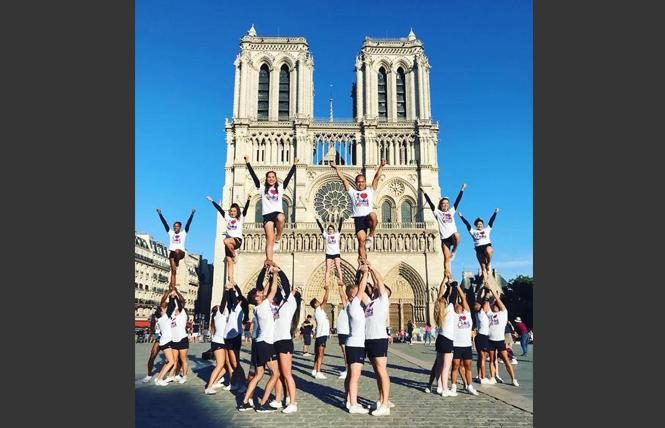 Members of Cheer New York performed in front of Notre Dame ahead of their competition at last year's Gay Games in Paris. Photo: Courtesy Facebook
