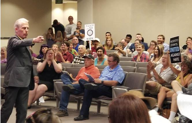 National Straight Pride Coalition founder Don Grundmann points at the audience during a Modesto City Council meeting Wednesday. Photo: Meg Elison