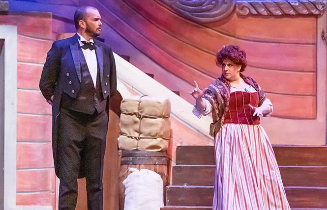 "Sonia Gariaeff as Buttercup warns Michael Grammer as Captain Corcoran that ""Things are Seldom what they Seem"" in Lamplighters' ""H.M.S.Pinafore."" Photo: Joe Giammarco"
