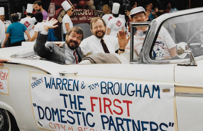 Barry Warren and Tom Brougham rode in the San Francisco Pride parade in the late 1980s. Photo: Courtesy Tom Brougham