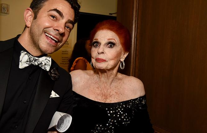 Carole Cook, with a friend, backstage at REAF's 25th anniversary benefit concert. photo: Steven Underhill