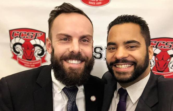 Tom Temprano, left, and Alex Randolph smiled after their first City College of San Francisco board meeting as vice president and president, respectively. Photo: Courtesy Facebook