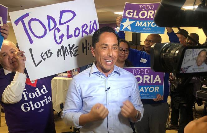 Todd Gloria, with Nicole Murray Ramirez at left, spoke at his announcement that he was running for mayor earlier this year. Photo: Courtesy Nicole Murray Ramirez
