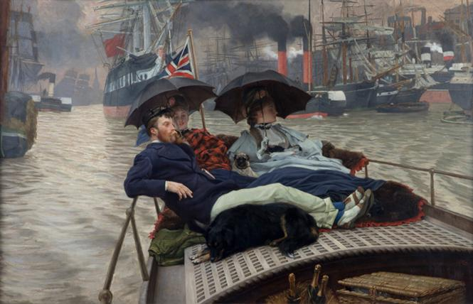 "James Tissot, ""On the Thames"" (ca. 1876), oil on canvas, part of ""James Tissot: Fashion & Faith."" Photo: The Hepworth Wakefield, courtesy FAMSF"
