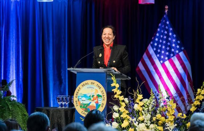 Lieutenant Governor Eleni Kounalakis speaking at her inauguration in January, will headline Equality California's brunch. Photo: Drew Altizer Photography