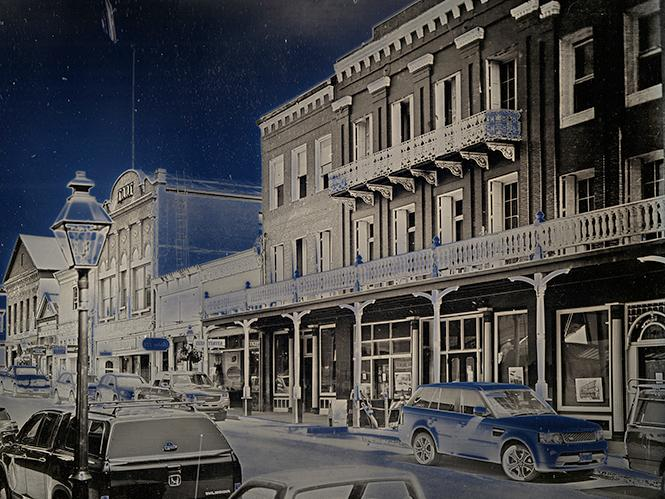 "Binh Danh, ""National Hotel on Broad St., Nevada City,  CA"" (2019). Daguerreotype, Unique (in camera exposure). Photo: Courtesy of the artist and Haines Gallery"