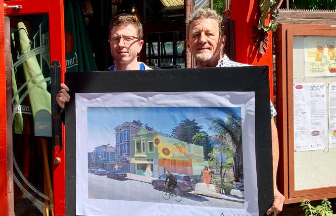 Business partners Luke Bruner, left, and Terrance Alan hold a drawing of their proposed dispensary. Photo: Sari Staver