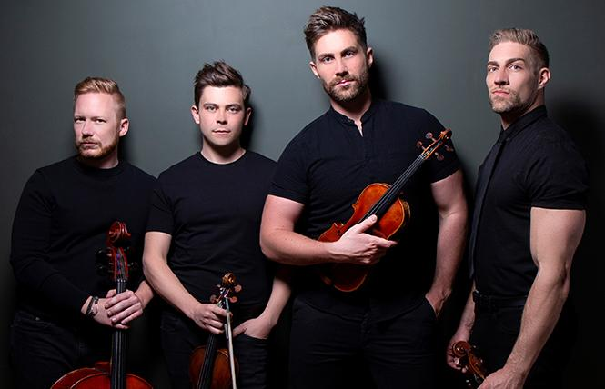 The guys of Well-Strung: Daniel Shevlin (cello), Edmund Bagnell (first violin), Trevor Wadleigh (viola) and Chris Marchant (second violin). Photo: Courtesy Feinstein's at the Nikko