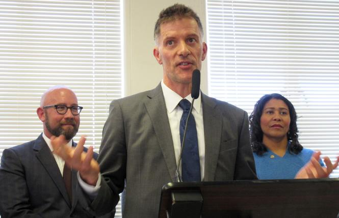 San Francisco Health Director Dr. Grant Colfax talks about the lower HIV rates at a Tuesday news conference. Photo: Liz Highleyman