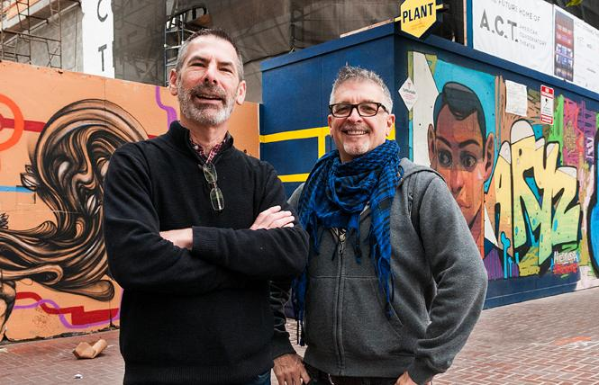 """""""5 Blocks"""" producers and directors Dan Goldes, left, and the late Robert Cortlandt stand near construction of the American Conservatory Theater's Strand performance space along Mid-Market while filming their documentary. Photo: Courtesy Dan Goldes"""