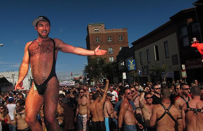 Dancer Paul William welcomes fans to a recent Folsom Street Fair. photo: BARtab