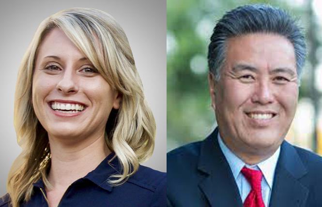 Out California Democratic House members Katie Hill, left, and Mark Takano back impeachment hearings for President Donald Trump. Photos: Courtesy Facebook