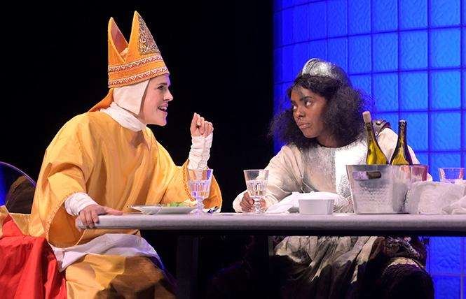"Pope Joan (Rosie Hallett) and Dull Gret (Summer Brown) recount their life stories at a dinner party in Caryl Churchill's ""Top Girls""  at A.C.T.'s Geary Theater. Photo: Kevin Berne"