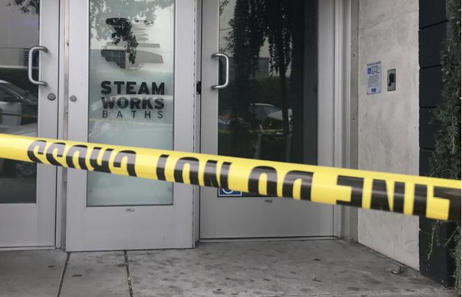 Police cordoned off Steamworks Baths in Berkeley Friday after an apparent overdose incident. Photo: Aviva Kirsten