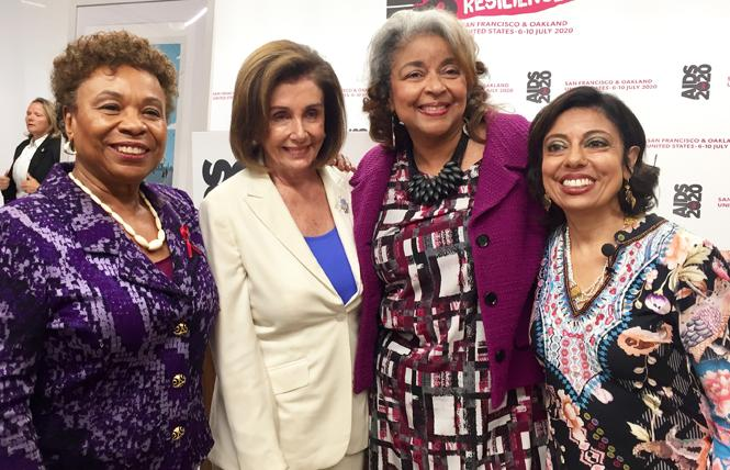 Congresswoman Barbara Lee, left, joined House Speaker Nancy Pelosi and AIDS 2020 co-chairs Cynthia Carey-Grant and Dr. Monica Gandhi at a kickoff news conference Monday. Photo: Liz Highleyman