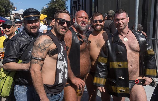 Royalty, titleholders and friends at the 2019 Folsom Street Fair. Left to Right: Emperor Leandro Gonzales, Eric Press, Marc Jordan, Manny Ojeda, Mr. SF Eagle Leather 2019, and Jawn Marques, Mr. SF Leather 2019. photo: Rich Stadtmiller