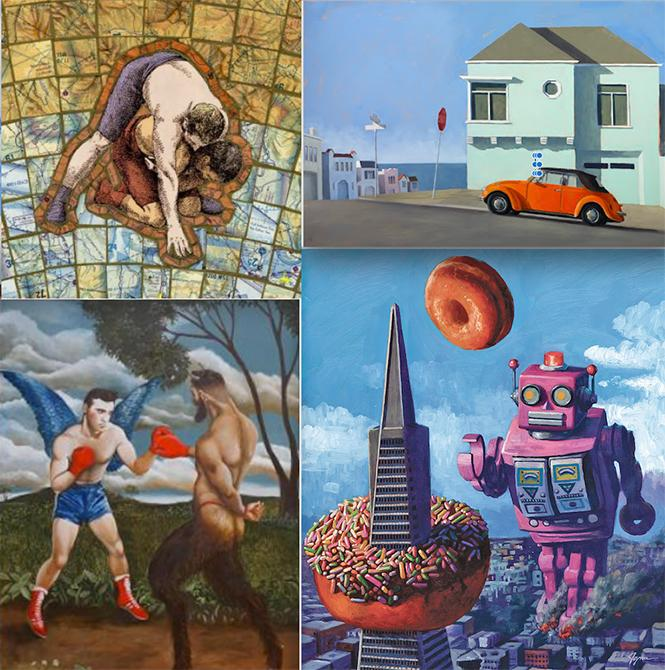 SF Open Studios @ Multiple Galleries: art by (from upperleft) Peter Howells, John Musgrove, Eric Joyner, Erika Meriaux.  Thu 10
