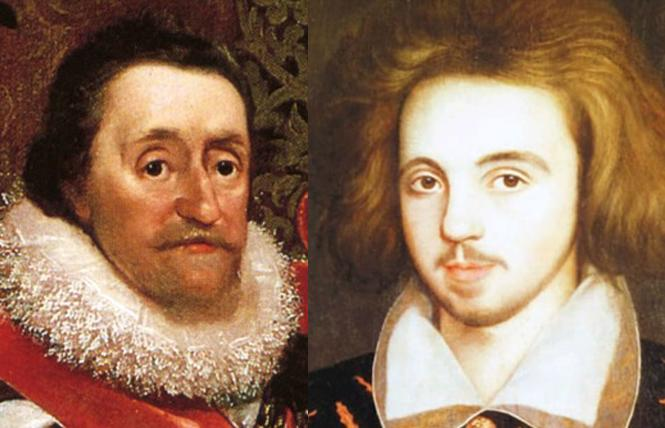 LEFT:  King James: wildman king. Photo: Kings of England  RIGHT: Christopher Marlowe: a mighty reckoning. Photo: Wikipedia