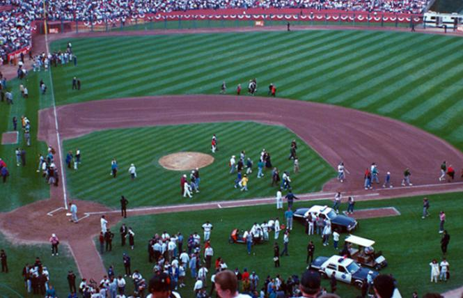 People milled about on the field at Candlestick Park after the Loma Prieta earthquake interrupted Game 3 of the World Series between the San Francisco Giants and Oakland A's on October 17, 1989. Photo: Courtesy Together We're Giants