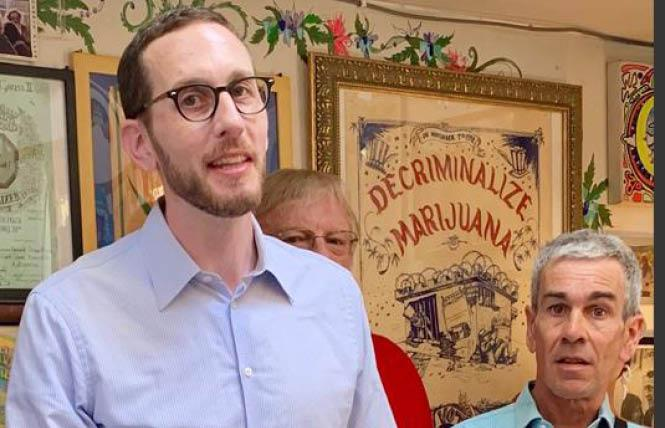 State Senator Scott Wiener, left, and medical cannabis advocate John Entwistle spoke at a recent news conference urging Governor Gavin Newsom to sign SB 34. Photo: Sari Staver