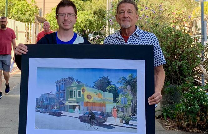 Luke Bruner, left, and Terrance Alan hold a rendering of the proposed Flore Store. Photo: Sari Staver