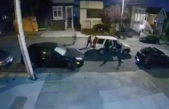Video captures an alleged attack on a man Monday night in Noe Valley. Photo: Courtesy KTVU via Ring