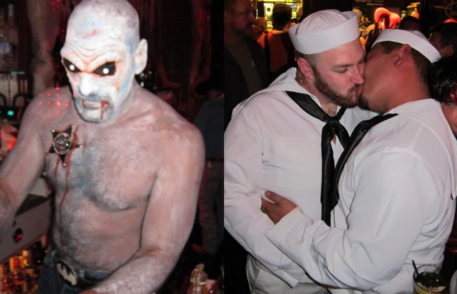 Zombie bartenders and smooching sailors from recent Castro Halloweens. Photos: BARtab