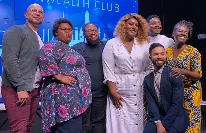 "Presenter Chief Esparza, left, joined panelists Nia Ibu, Socorro Moreland, Aria Sa'id, Tuquan Harrison, Corey Baker (kneeling), and Kin Folkz onstage after the ""When POC is not Enough'"" talk at the Commonwealth Club of California. Photo: Sari Staver"