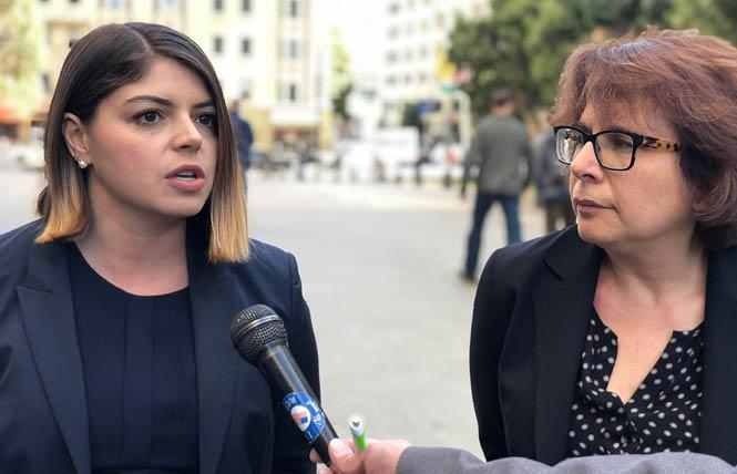 San Francisco Deputy City Attorney Jaime Huling Delaye, left, and attorney Miriam Nemetz address reporters after the court hearing Wednesday. Photo: John Ferrannini