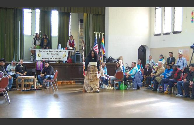 "People on stage during a Bay Area American Indian Two Spirits powwow from the documentary ""Two-Spirit Powwow."" Photo: Courtesy BAAITS, David Romero"