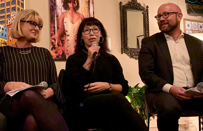 Stacy Jed, left, board president of the Golden Gate Restaurant Association, joined Angel Davis, co-owner of Fig and Thistle wine bars, and District 8 Supervisor Rafael Mandelman at a panel on challenges facing small businesses. Photo: Sari Staver