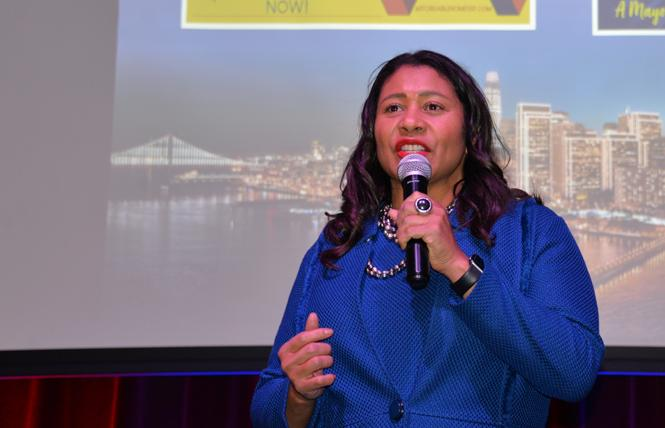 Mayor London Breed addressed supporters at her Election Night party Tuesday. Photo: Bill Wilson