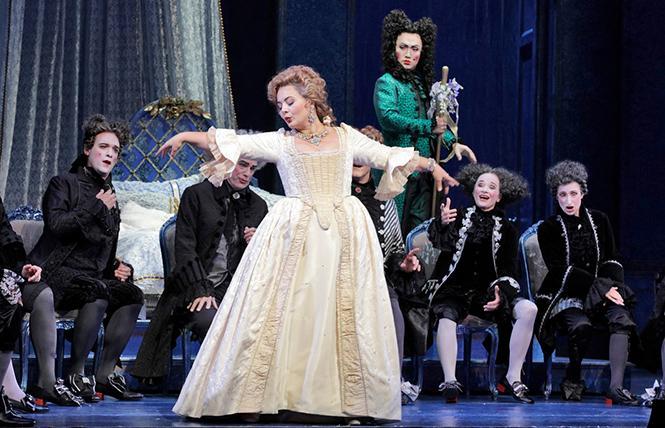 "Lianna Haroutounian as Manon, and Zhengyi Bai as the Dancing Master in Puccini's ""Manon Lescaut."" Photo: Cory Weaver/San Francisco Opera"