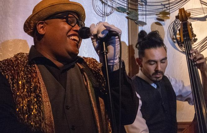 Jazz artist Lambert, left, entertained attendees at the Valentine Project's recent benefit. Photo: Jane Philomen Cleland