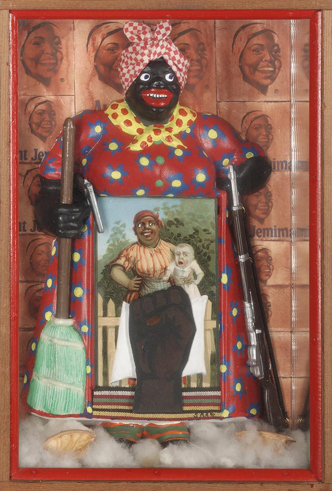 "Betye Saar, ""The Liberation of Aunt Jemima"" (1972). Wood, cotton, plastic, metal, acrylic paint, printed paper and fabric. Collection of BAMPFA. Photo: Benjamin Blackwell, courtesy of FAMSF"