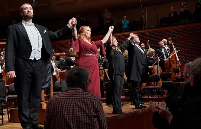 "Bass Ain Anger, soprano Emily Magee, conductor Simone Young, and tenor Stuart Skelton take their bows following a performance of Wagner's Act I from ""Die Walküre"" with the San Francisco Symphony. Photo: Stefan Cohen"