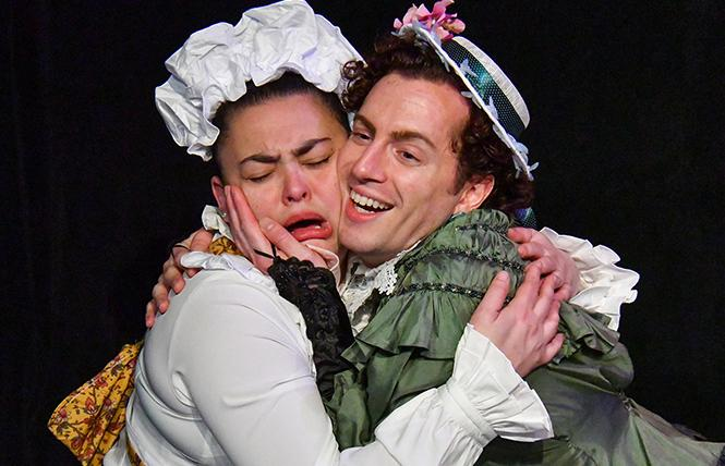"""Ellen (Renee Rogoff) professes her love for Betty (Mario Mazzetti) in Caryl Churchill's gender- and time-bending comedy, """"Cloud 9."""" Photo: Jay Yamada."""