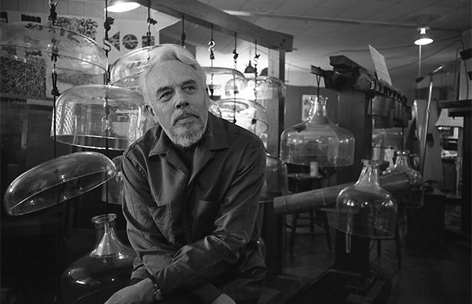 Harry Partch with his instruments, including Cloud Chamber Bowls, in his studio in Petaluma, 1964, courtesy Corporeal Meadows