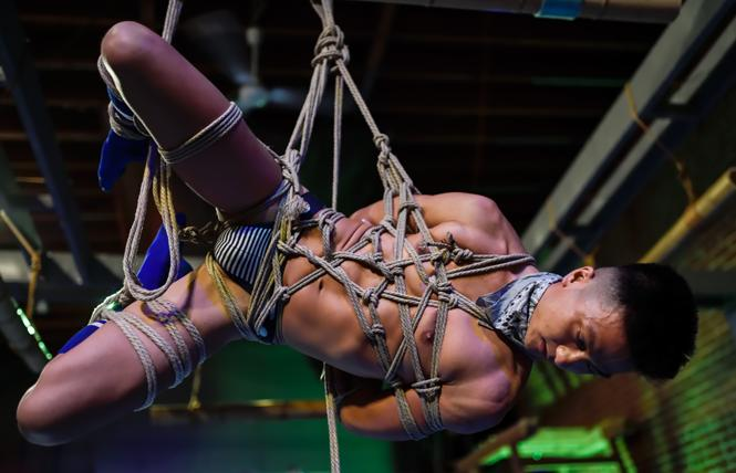 Toolboi enjoying some rope bondage suspension, one of the things attendees at Rope Burn SF can learn. photo: Waldemar Horwat