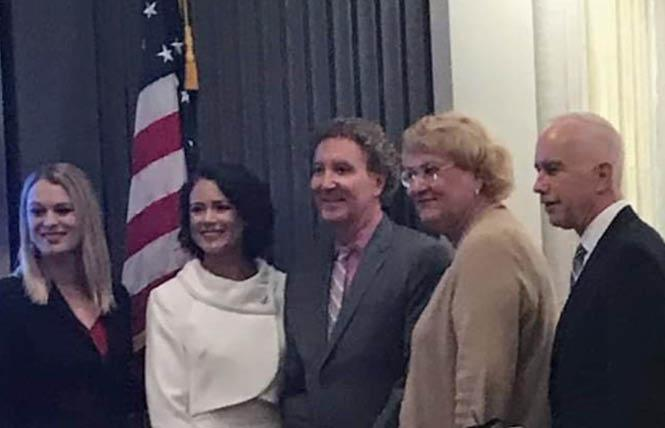 The new Palm Springs City Council met Wednesday and includes mayor pro tem Christy Holstege, left, Councilwoman Grace Elena Garner, Mayor Geoff Kors, Councilwoman Lisa Middleton, and Councilman Dennis Woods. Photo: Courtesy City of Palm Springs