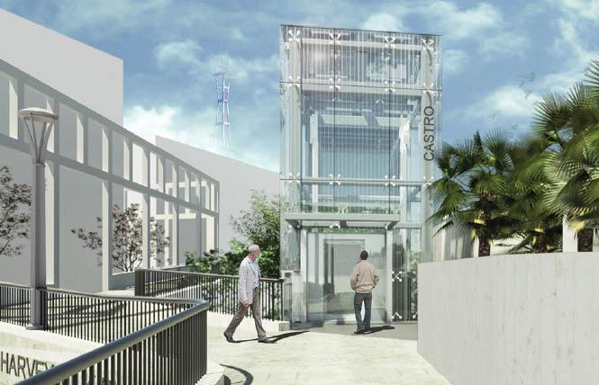 A rendering of the proposed elevator for Harvey Milk Plaza that will improve access to the Castro Muni Station below. Photo: Courtesy DPW