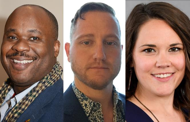 Shaun Haines, left, Jesse Oliver Sanford, and Elizabeth Lanyon are three of the 12 candidates vying for seats on the inaugural advisory board of the Castro LGBTQ Cultural District. Photos: Courtesy Castro LGBTQ Cultural District/Rick Gerharter (Haines)
