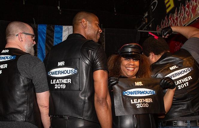 Winner of the first Ms. Powerhouse Leather 2020 contest, Ms. V (third from left), with past winners of the Mr. titles: Will Victoria, Mr. Powerhouse Leather 2014 (left); AJ Huff, Mr. Powerhouse Leather 2019 (second from left); and Travis Santell Rowland, Mr. Powerhouse Leather 2017 (far right). photo by Dot