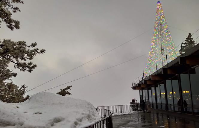 A Christmas tree of lights is perched atop Mt. San Jacinto. Photo: Ed Walsh
