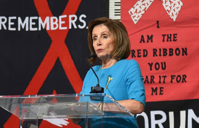 House Speaker Nancy Pelosi talked about the return of the AIDS Memorial Quilt to its original home in the San Francisco Bay Area during an announcement November 20 at the Library of Congress. Photo: Courtesy Mike Shriver/National AIDS Memorial Grove